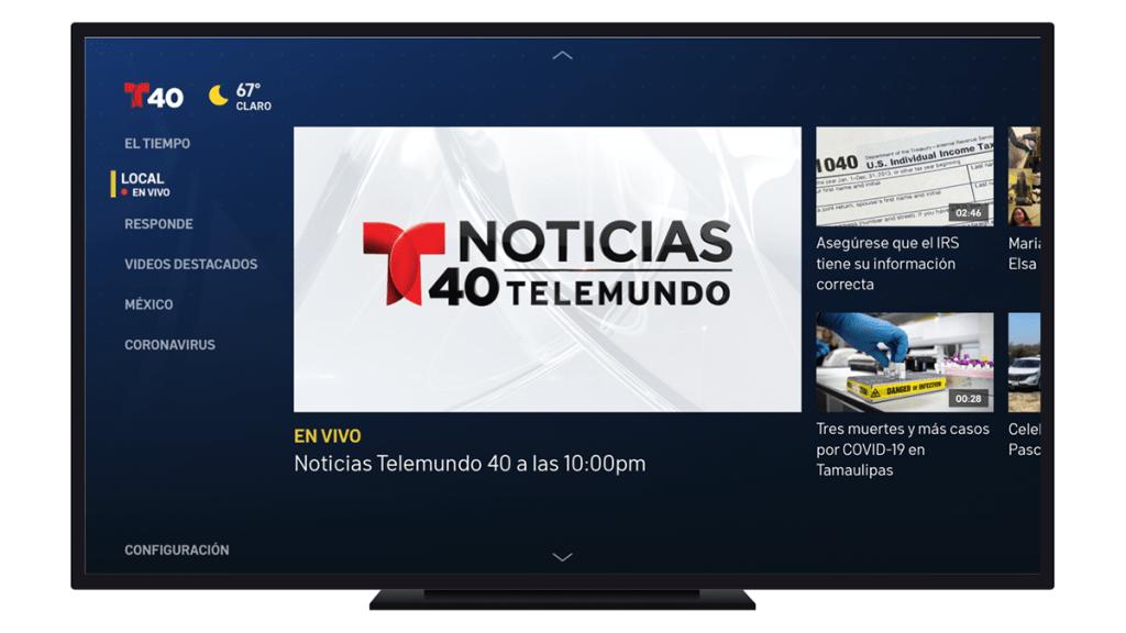 Monitor de televisor con logo de Noticias Telemundo 40