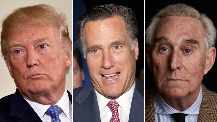 Combinación de fotografías del presidente Donald Trump, el senador Mitt Romney y Roger Stone.