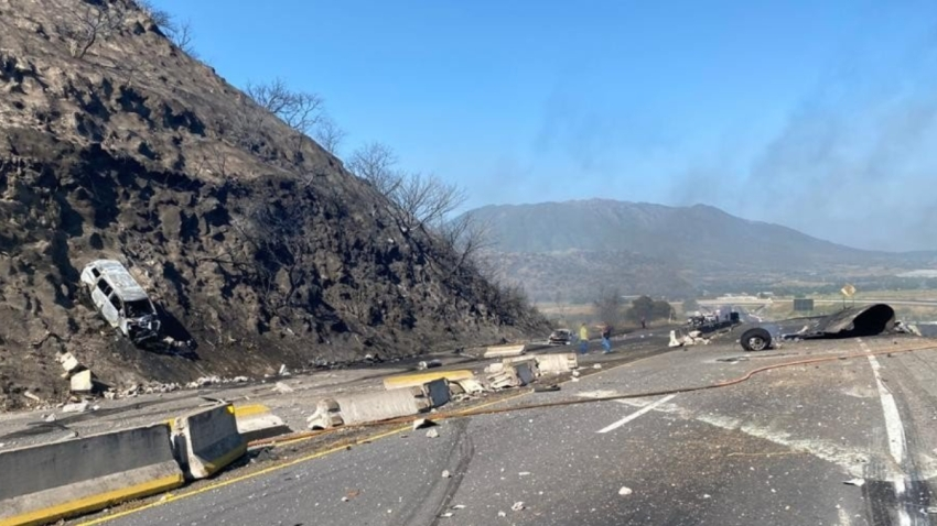 Zona de accidente en autopista Tepic-Guadalajara