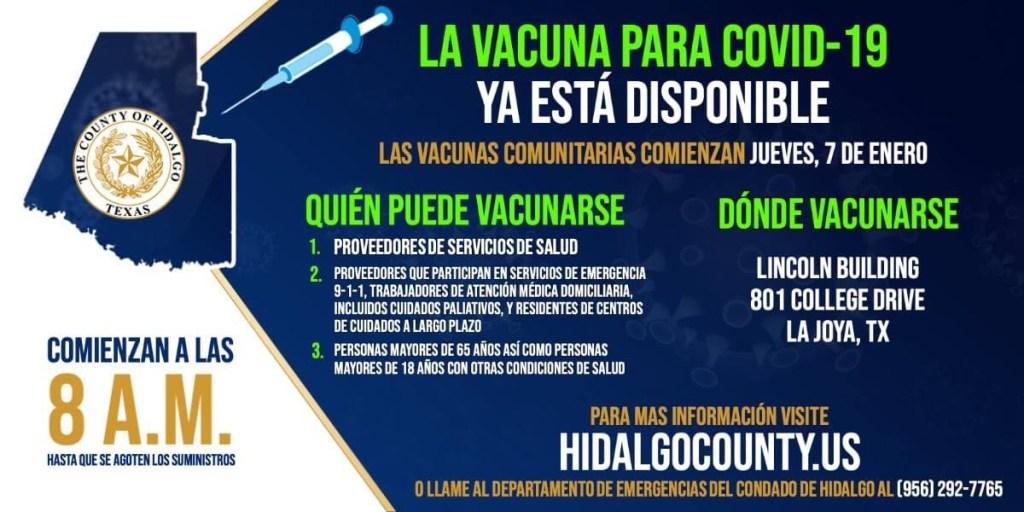 Anuncio del condado Hidalgo sobre la disponibilidad de la vacuna contra el coronavirus.