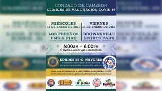 Anuncio de clinica de vacunacion en Los Fresnos y Brownsville