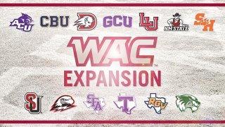 anuncio de la expansion de la conferencia atletica del oeste con los logos de varias universidades