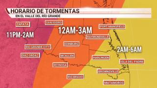 Foto de mapa con horario de tormentas.