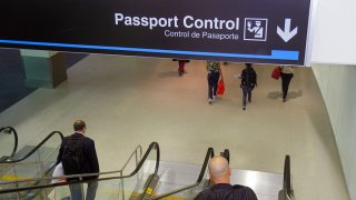 Florida Miami International Airport Passport Control English Spanish bilingual arriving passengers customs.