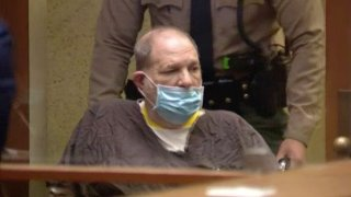 Harvey Weinstein appears in an LA courtroom.