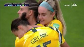 Australia no se rinde: Logarzo empata el partido con Brasil a dos goles