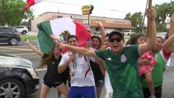 Así celebran los fanáticos de México en Brownsville