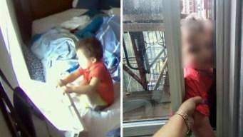 Bebé arranca aire y hace malabares al borde de edificio