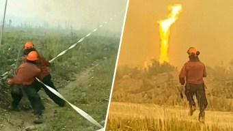 En video: tornado de fuego atrapa manguera y la derrite