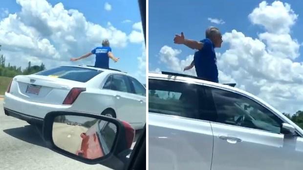 [TLMD - NATL] Peligroso e insólito: conduce auto con la mitad de su cuerpo afuera