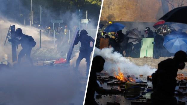 Bombas, gas y flechas: siguen protestas en Hong Kong