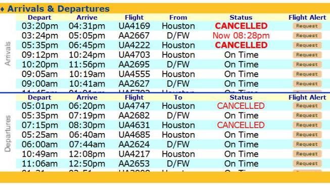 Cancelan algunos vuelos hacia Houston